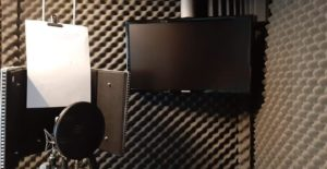 Studio monitor in home voiceover studio